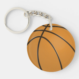 Basketball Design in Traditional Orange and Black Double-Sided Round Acrylic Key Ring