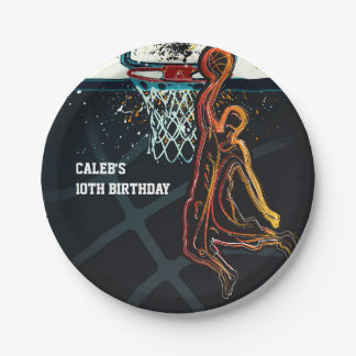 Basketball Dunk Jump Shot Birthday Party Paper Plate