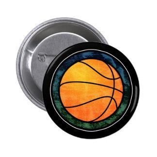 Basketball Emblem Blue Green Button