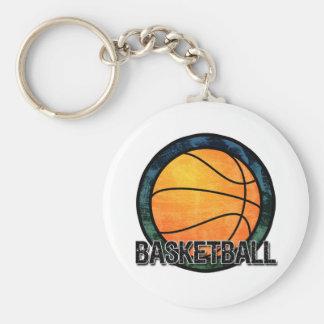 Basketball Emblem Blue Green Keychain