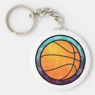 Basketball Emblem Blue Purple Keychain