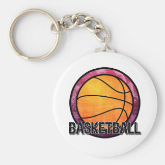 Basketball Emblem Pink Purple Keychain
