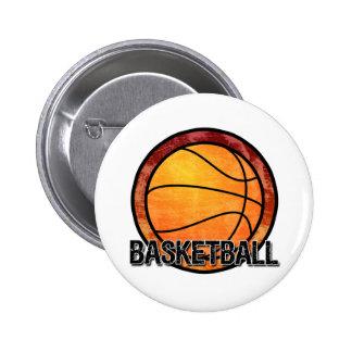 Basketball Emblem Red Orange Button