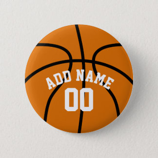 Basketball Fan with Custom Name Number 6 Cm Round Badge