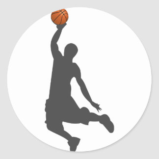 Basketball Fly Guy Round Sticker