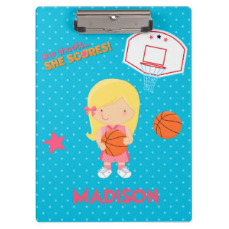 Basketball Girl Blue Polka Dot Hoop Clipboard