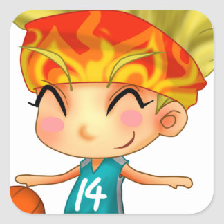 Basketball Girl Cartoon Square Sticker