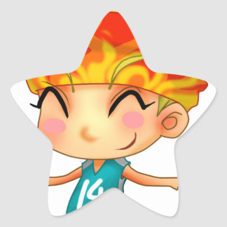Basketball Girl Cartoon Star Sticker
