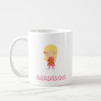 Basketball Girl Pink Jersey Blonde Hair Mug
