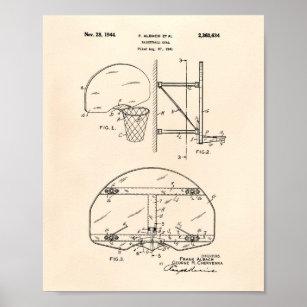 Basketball Goal 1944 Patent Art Old Peper Poster