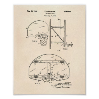 Basketball Goal 1944 Patent Art Old Peper Poster