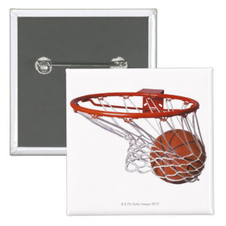 Basketball going through hoop 15 cm square badge