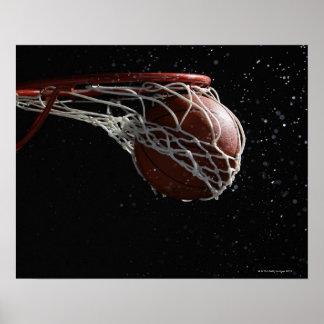 Basketball going through hoop 2 poster