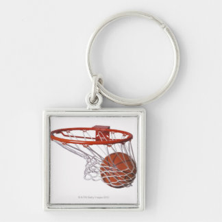 Basketball going through hoop key ring