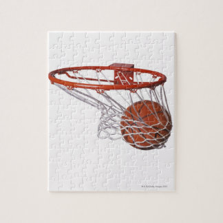 Basketball going through hoop puzzle