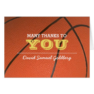 Basketball Gold Bar Mitzvah Thank You Note Card