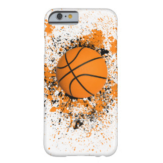 Basketball Grunge Paint Splatter Orange Black Cool Barely There iPhone 6 Case