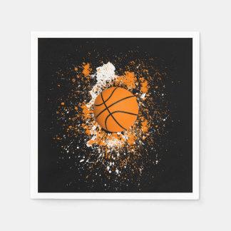 Basketball Grunge Paint Splatter Orange Black Disposable Napkin