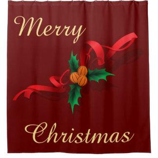 Basketball  Holly Christmas Shower Curtain