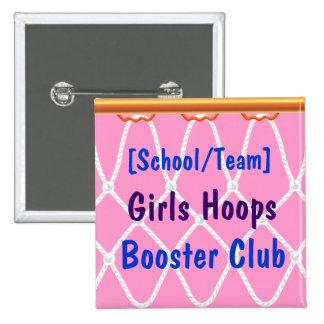 Basketball Hoop Net_Hoops Booster Club template Pinback Buttons