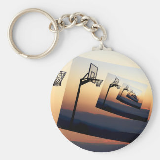 Basketball Hoop Silhouette Basic Round Button Key Ring