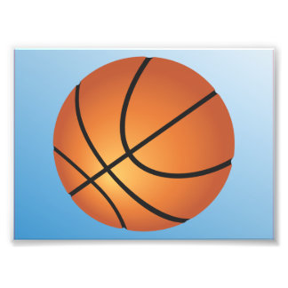 Basketball Icon Blue Background Photographic Print