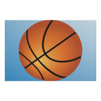 Basketball Icon Blue Background Poster