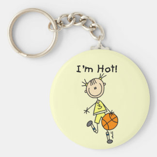 Basketball I'm Hot T-shirts and Gifts Basic Round Button Key Ring