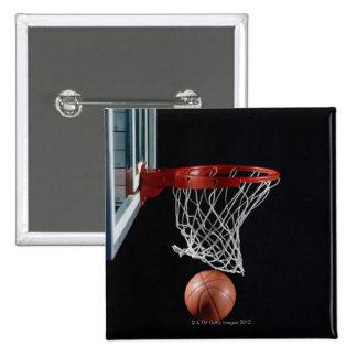 Basketball in Hoop 15 Cm Square Badge