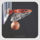 Basketball in hoop, close-up square stickers