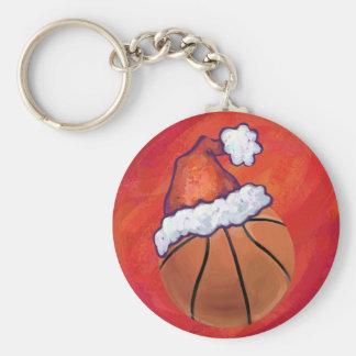 Basketball in Santa Hat Basic Round Button Key Ring