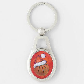 Basketball in Santa Hat Silver-Colored Oval Key Ring