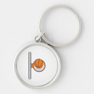 basketball into net top view graphic Silver-Colored round key ring