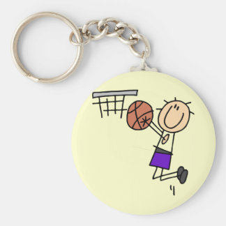 Basketball Jump Shot - Purple Tshirts and Gifts Basic Round Button Key Ring