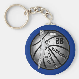 Basketball Keychains, 4 Text Boxes and Your Colors Key Ring