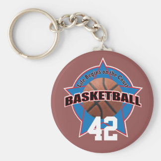 Basketball Life Begins on the Court and Number Basic Round Button Key Ring