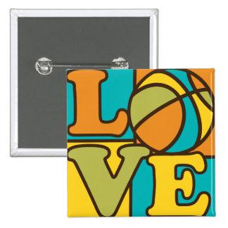 Basketball Love 15 Cm Square Badge