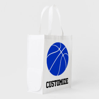 Basketball Mom Blue Basketball Custom Text Grocery Reusable Grocery Bag