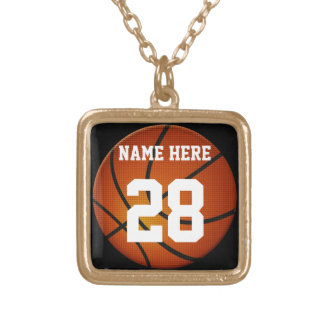 Basketball Necklace with Number, Gold or Silver