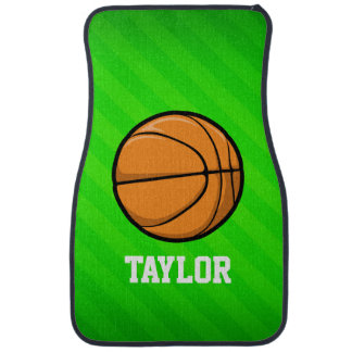 Basketball; Neon Green Stripes Car Mat