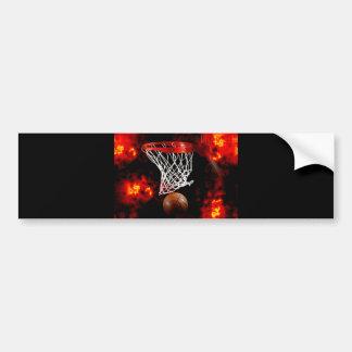 Basketball Net, Ball & Flames Bumper Sticker