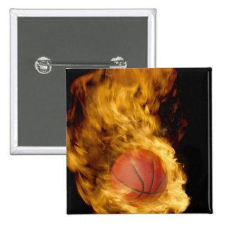 Basketball on fire (digital composite) 15 cm square badge