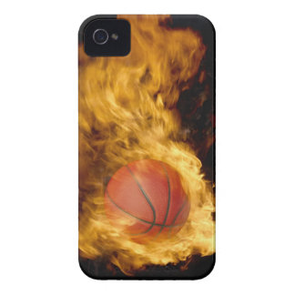 Basketball on fire (digital composite) iPhone 4 cases