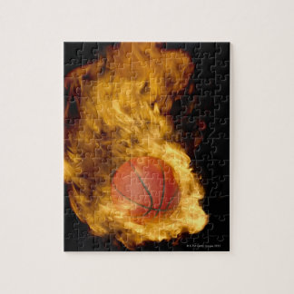 Basketball on fire (digital composite) jigsaw puzzle