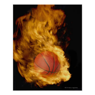 Basketball on fire (digital composite) poster