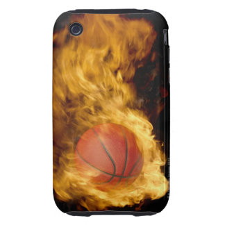 Basketball on fire (digital composite) tough iPhone 3 cases