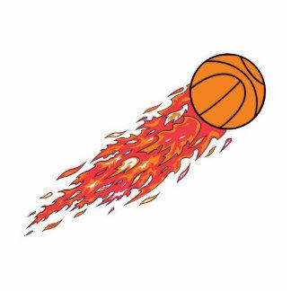 basketball on fire standing photo sculpture
