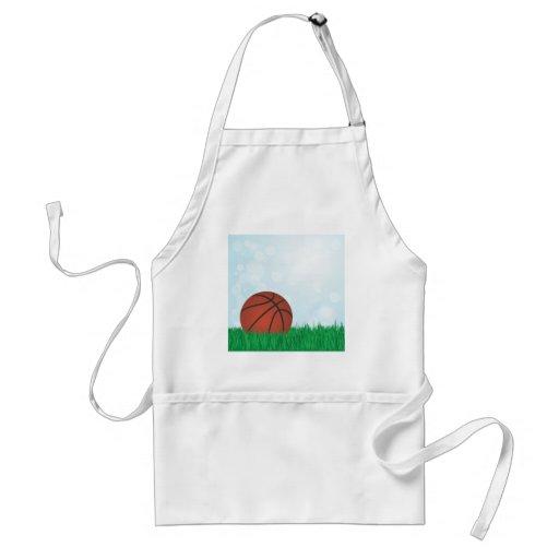 basketball on grass apron