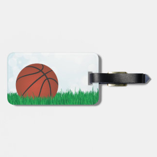 basketball on grass bag tag