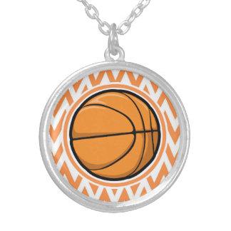 Basketball on Orange and White Chevron Personalized Necklace